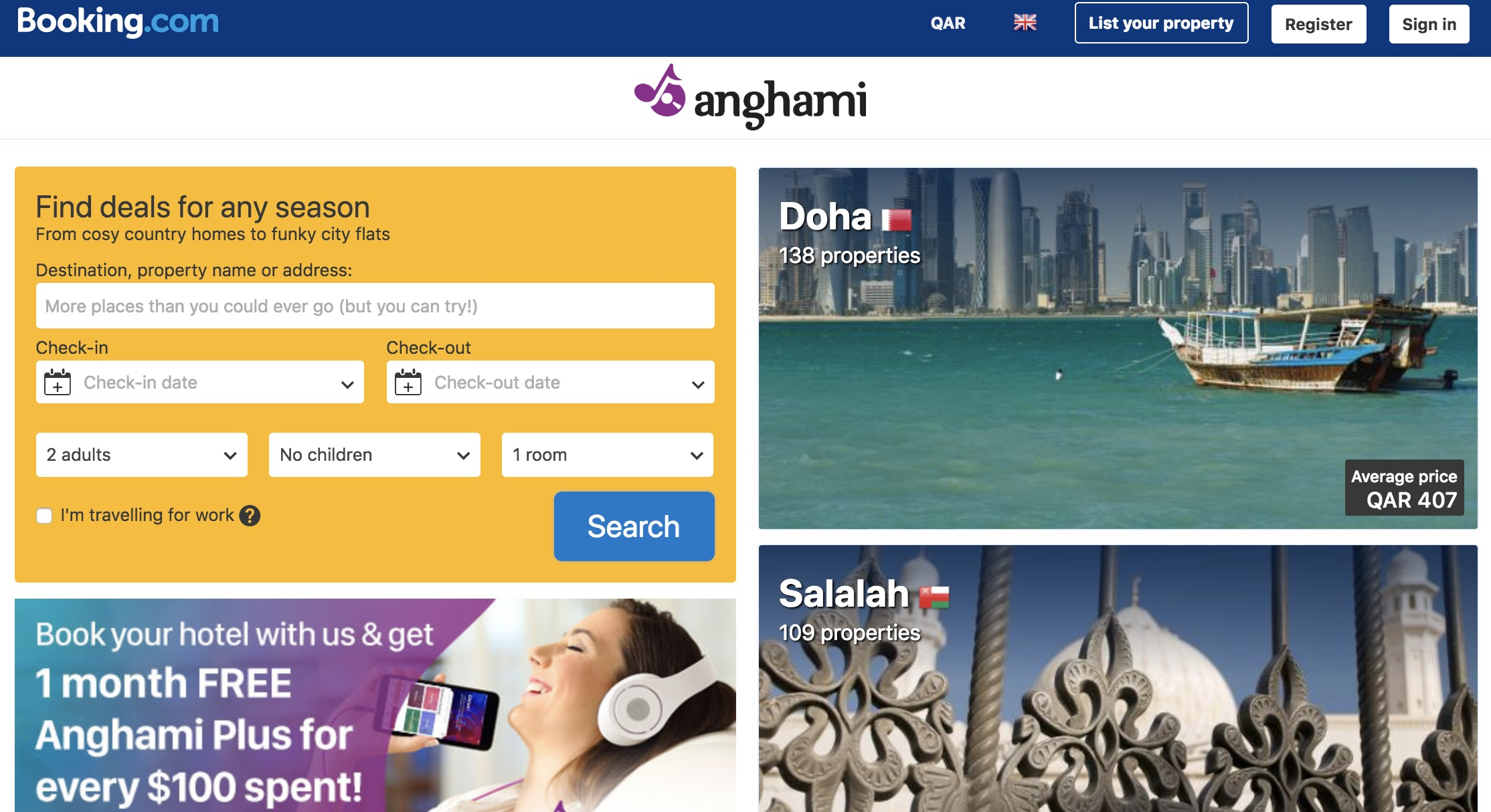 Earn Anghami Plus months for every $100 spent on Booking.com