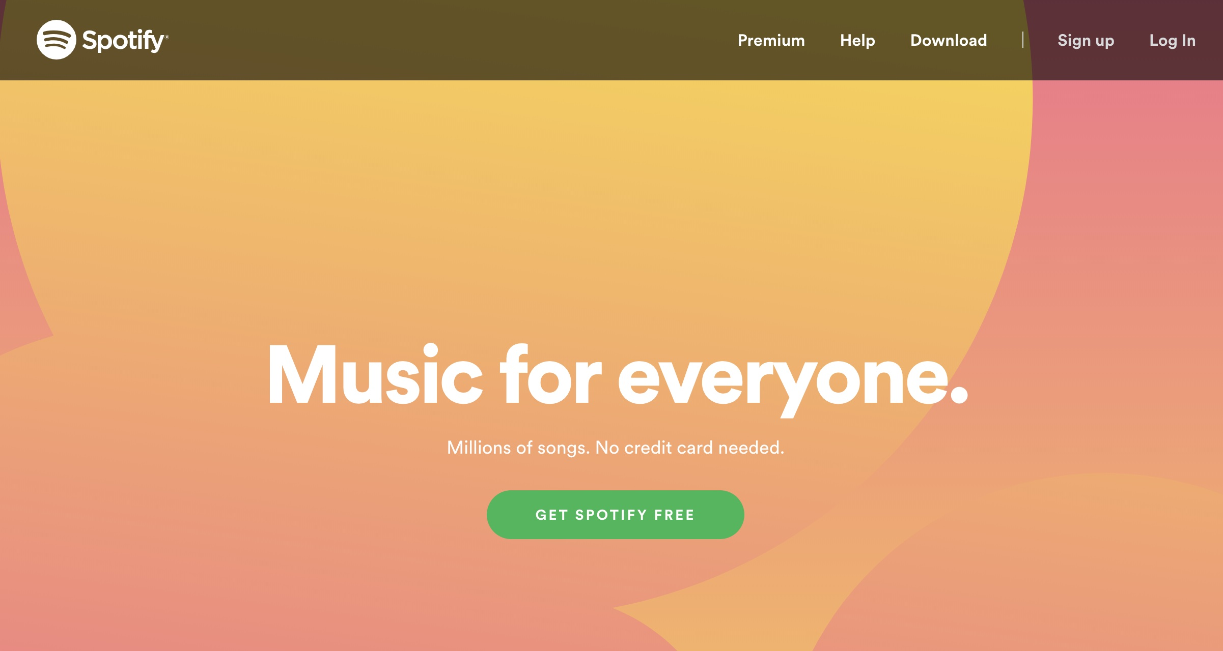 Spotify home page